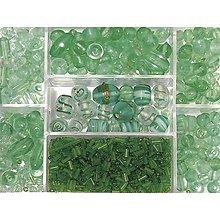 Korálky - Sklenené korálky – box, jade - 8679942_