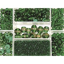 Korálky - Sklenené korálky – box, emerald - 8679951_