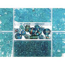 Korálky - Sklenené korálky – box, Indian turquoise - 8679967_