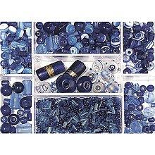 Korálky - Sklenené korálky – box, saphire - 8679993_