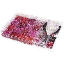 Korálky - Korálky v boxe s kliešťami, pink-red - 8680104_