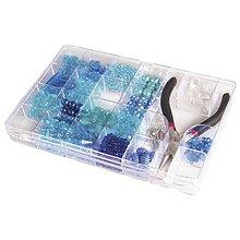 Korálky - Korálky v boxe s kliešťami, blue - 8680108_