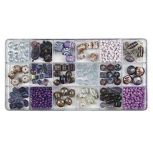 Korálky - Sklenené korálky – box, violet - 8680203_
