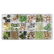 Korálky - Sklenené korálky – box, olive - 8680286_