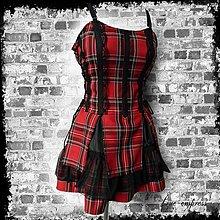 Šaty - Rockové gotické kárované šaty - 8679270_