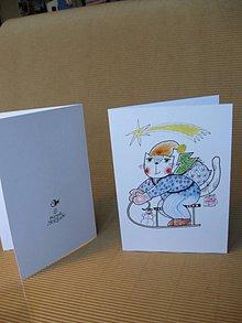 Kresby - přání s kočkou - 8681343_