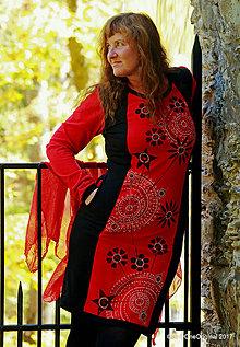Šaty - Dámske šaty midi, batikované, maľované, etno MOŠI-MOŠI - 8679039_