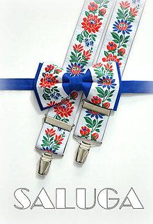 Doplnky - Folklórny pánsky kráľovský modrý motýlik a traky folk - 8679809_