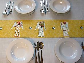Úžitkový textil - Stredový obrus , ručne maľovaný, anjeli ,120 x 20 cm,  žltý - 8678318_
