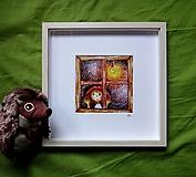 Kresby - Za oknom - ilustrácia - aj s rámom - 8681659_