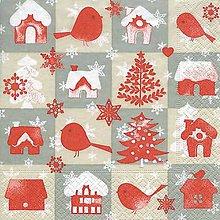 Papier - červené Vianoce - 8680857_