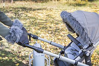 Detské súpravy - Kožušinka na striešku na mieru TMAVOŠEDÝ MELÍR - 8684210_