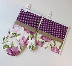 Úžitkový textil - set rukavica+chňapka Maky fialová - 8682919_