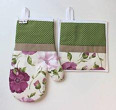 Úžitkový textil - set rukavica+chňapka Maky zelená - 8682938_