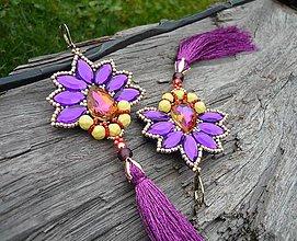 Náušnice - Náušnice Indická Orchidea...fialovo-zlatá - 8686247_