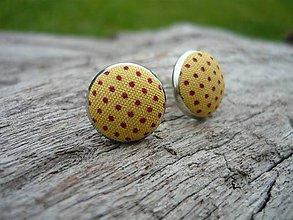 Náušnice - Náušnice Buttonky Hořcicové puntikaté - 8686931_