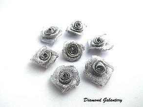 Galantéria - Ozdobné ružičky strieborné - 8686089_