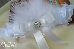 - svadobný podväzok biela & ivory - 8682664_