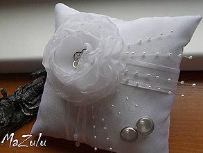 Prstene - Svadobný vankúšik pod obrúčky - 8687287_