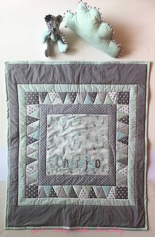 Textil - Detská patchworková prikrývka+vankúšik+macko - 8686515_