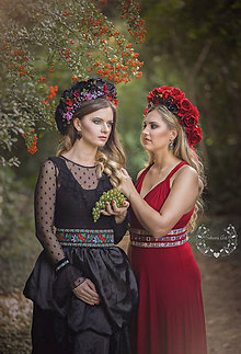 Opasky - Exkluzívny červený ľudový opasok z kolekcie Black&Red folk - 8682386_