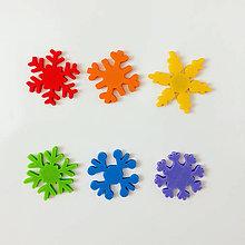 Magnetky - Snehové vločky vo farbách dúhy - 8683550_