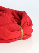 Šály - Sýtočervený ľanový nákrčník s koženým remienkom - 8685339_