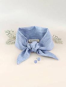 Šatky - Dámsky set - svetlomodrá ľanová šatka do krku/vlasov s náušničkami - 8683872_