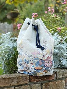 Batohy - Kvetinový ľanový batoh s ručnou maľbou