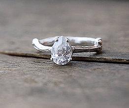 Prstene - Vetvičkový prsteň strieborný so zirkónom - 8686736_