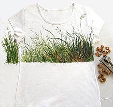 """Tričká - Biele tričko """"raňajky v tráve""""veľkosť L - 8683373_"""