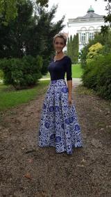 Sukne - slávnostná sukňa Modrý ornament - 8682661_