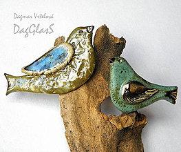 Odznaky/Brošne - keramická brošňa ...Z vtáčej ríše... - 8684541_