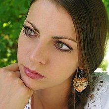 Náušnice - Drevené náušnice – Folkové prírodné, modrý motív - 8687214_