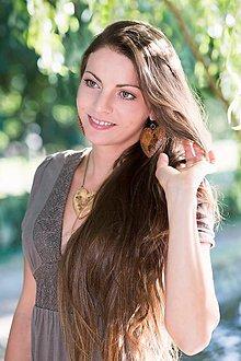 Sady šperkov - Drevené šperky náušnice, prívesok – Srdce vidiek - 8687258_