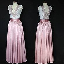 Šaty - Spoločenské šaty s V výstrihom a saténovou sukňou rôzne farby - 8685260_