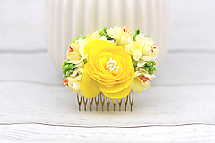 Ozdoby do vlasov - Hrebienok žltý ruža - 8684596_