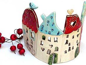 Svietidlá a sviečky - svietnik dom červeno tyrkysový - 8684021_