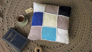 "Úžitkový textil - Vankúš ""Patchwork Blue"" - 8686990_"