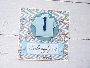 Papiernictvo - pohľadnica k sviatku pre muža - 8684652_