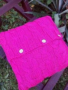 Úžitkový textil - Tmavoružový pletený vankúš - 8684946_
