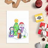 Papiernictvo - VÝPREDAJ Snehuliak - vianočná pohľadnica - 8685570_