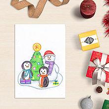 Papiernictvo - Snehuliak - vianočná pohľadnica - 8685570_