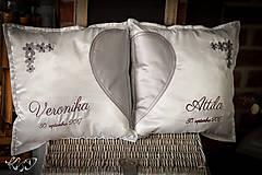 """Úžitkový textil - Svadobné vankúšiky """"Veronika & Attila"""" - 8690892_"""