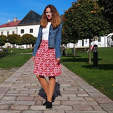 Sukne - Sukňa Folk vzorovaná červená - 8689542_
