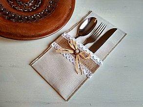 Úžitkový textil - Romantické prestieranie Ivory Love na příbor s jutou - 8692142_