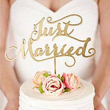 Dekorácie - Zápich na tortu Just Married - 8689753_