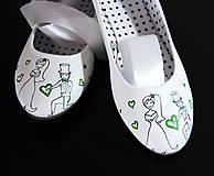 Obuv - svadobné balerínky so zelenou - 8691444_