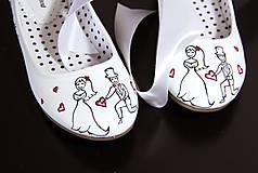 Obuv - svadobné balerínky so zelenou - 8691448_
