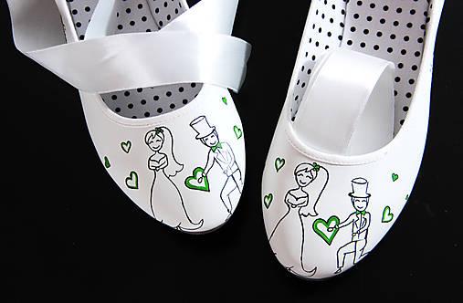 svadobné balerínky so zelenou